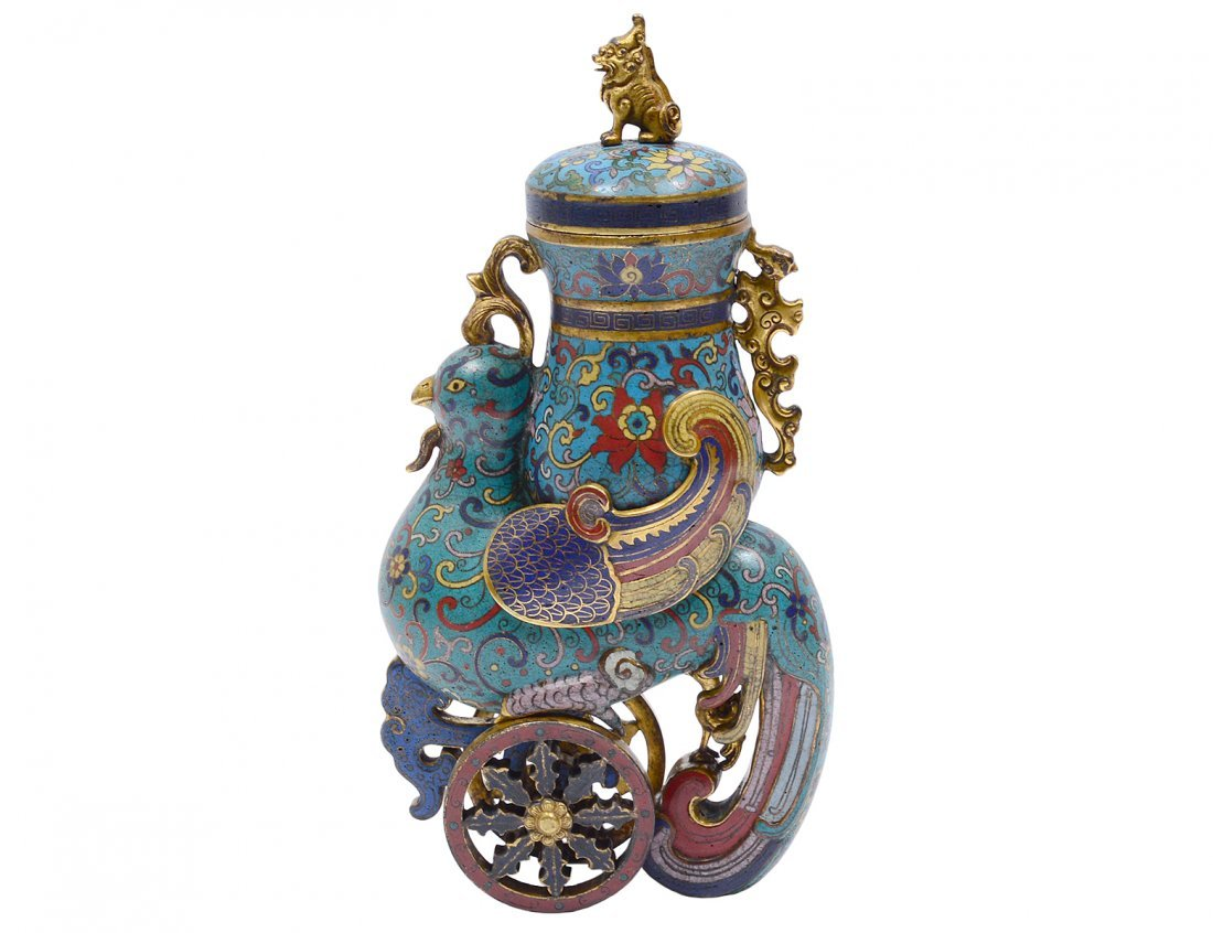 CLOISONNE ENAMEL AND GILT BRASS VESSEL AND COVER