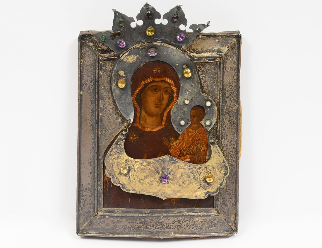 RUSSIAN SILVERED BRASS, METAL AND WOOD ICON OF OUR LADY