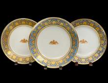 SET OF THREE RUSSIAN IMPERIAL FACTORY PORCELAIN PLATES