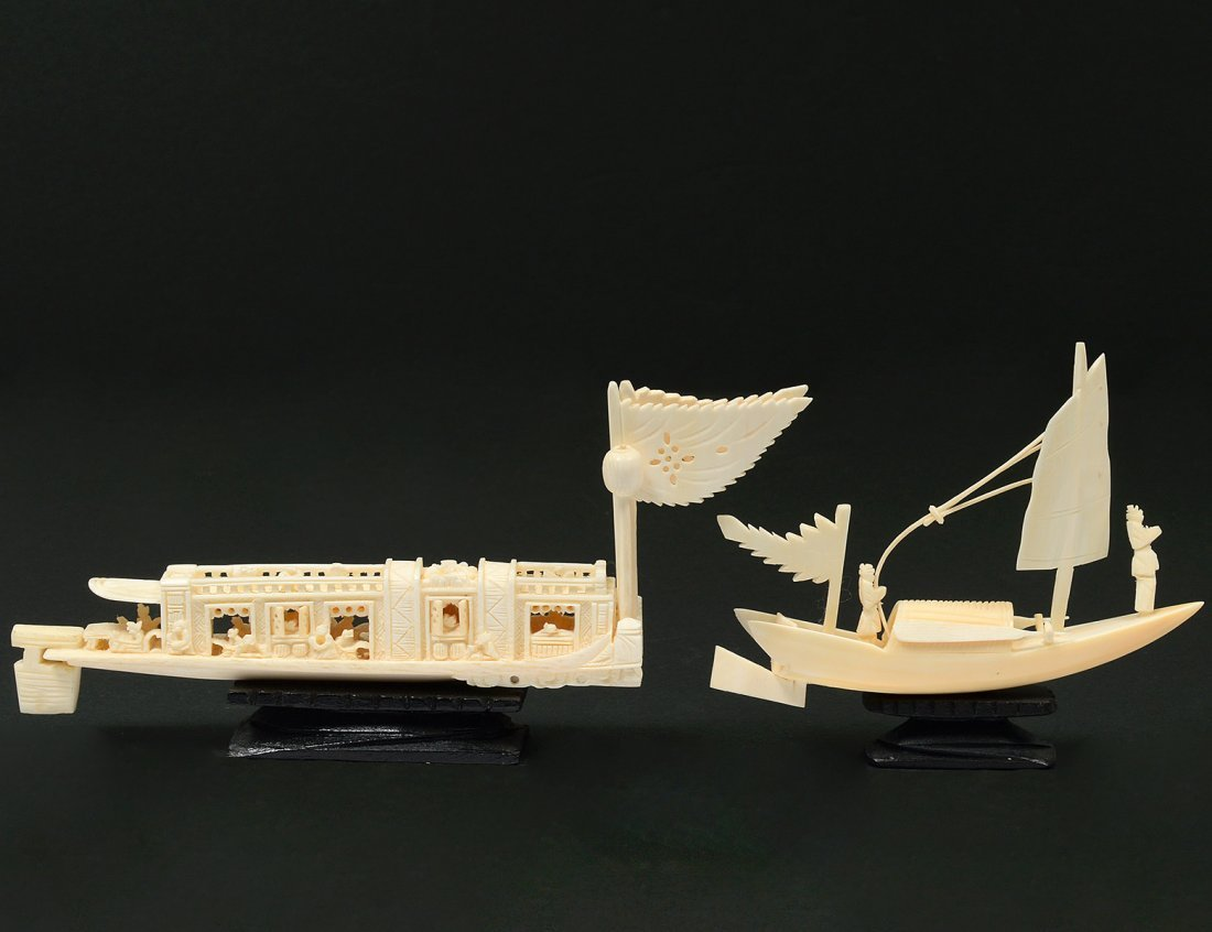 TWO CARVED IVORY BOATS