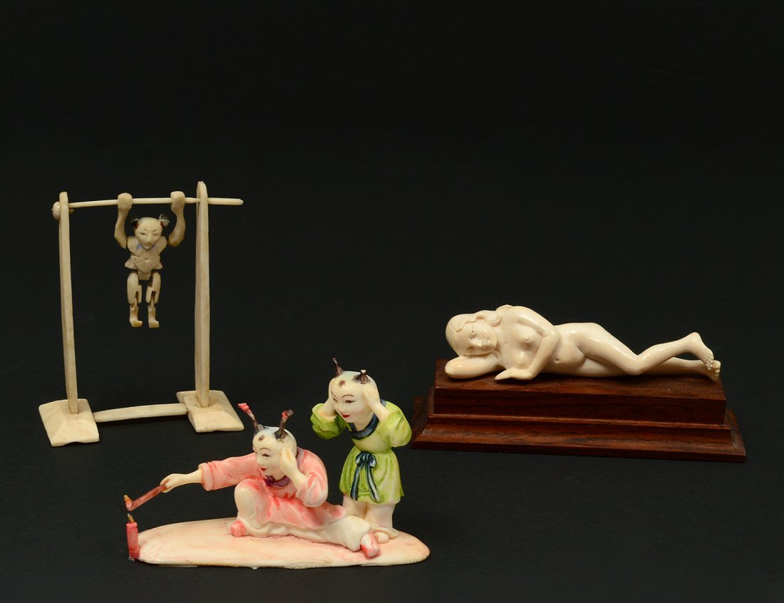 THREE ASSORTED IVORY CARVINGS