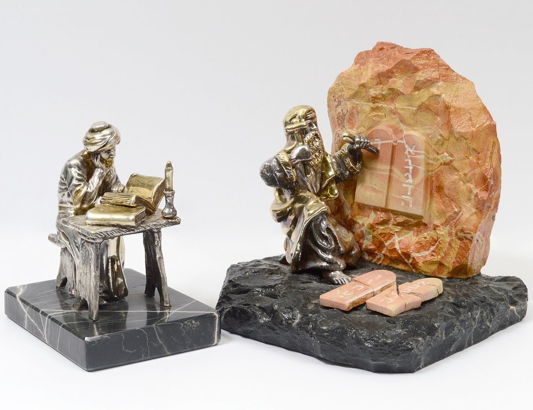 TWO SAM PHILIPE SILVERED SCULPTURES