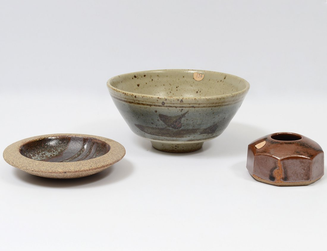 GROUP OF THREE LEACH ART POTTERY ARTICLES