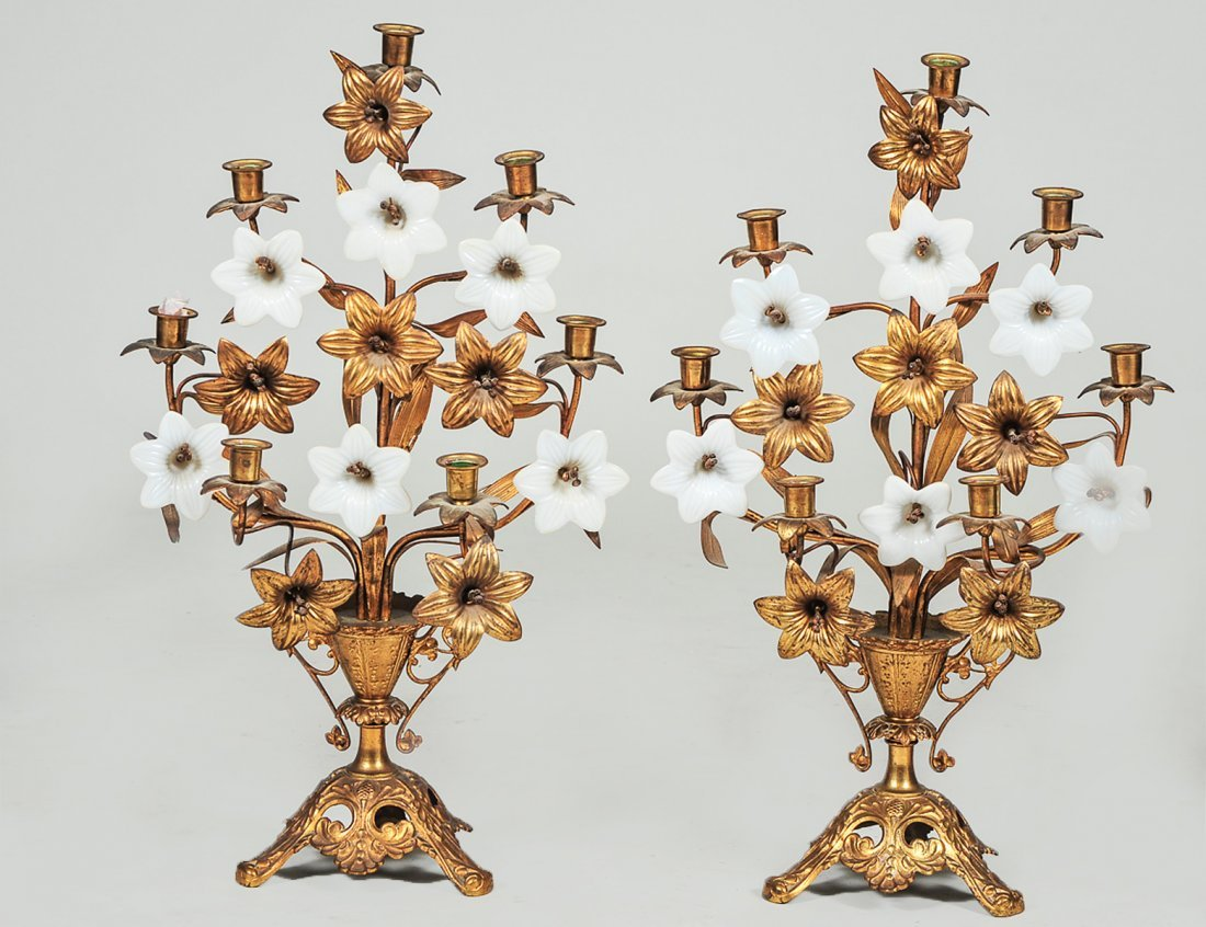 PAIR OF GILT METAL AND GLASS SEVEN LIGHT CANDELABRAS