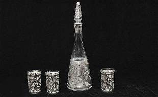 Mexican Sterling Silver Overlay Decanter