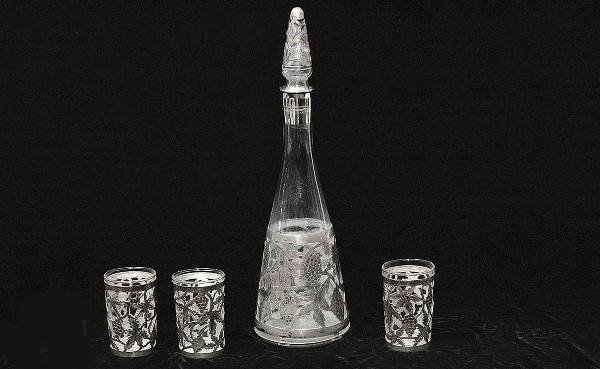 4: Mexican Sterling Silver Overlay Decanter
