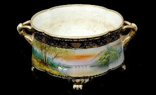 Nippon Hand Painted Two Handled Planter