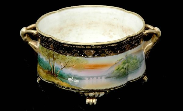 9: Nippon Hand Painted Two Handled Planter