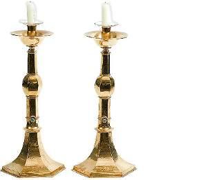 Two English Antique Osborne Brass Candlesticks