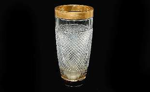 Glass and Gold Plated Rimmed Vase