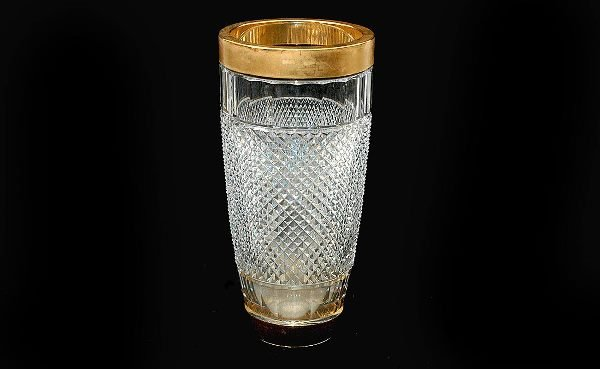 11: Glass and Gold Plated Rimmed Vase