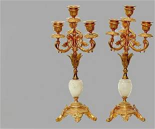 Pair French Gilded Bronze Four Arm Onyx Candelabras