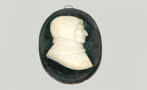 15: Carved Italian Marble Monk Head Plaque