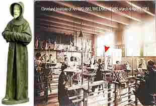 Lg American Circa 1881 Cast Ceramic Standing Monk