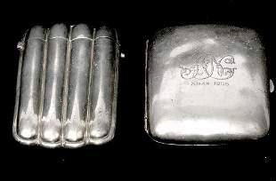 2 Pc English Sterling 1900s Cigarette n Cigar Case