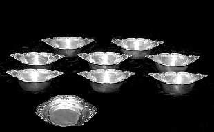 Set of 8 Birks England Sterling Nut Dishes