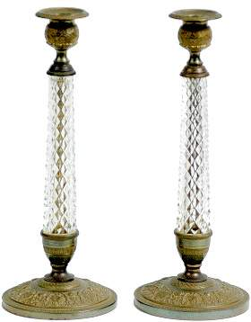 Pair Glass and Bronze Cast Empire Style Candlestick