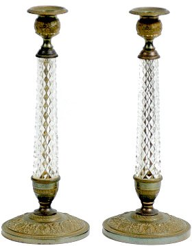 24: Pair Glass and Bronze Cast Empire Style Candlestick