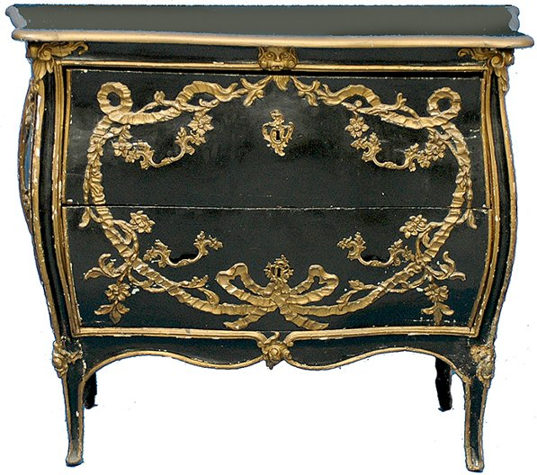 83: 18th C Swedish Black Lacquered Bombe Commode