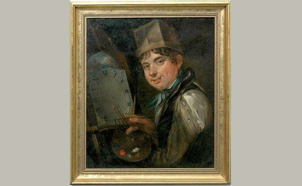 158: 19th C The Clock Painter Oil on Canvas
