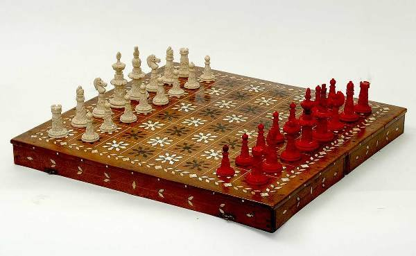 230: Ivory Chess Set with Inlaid Board