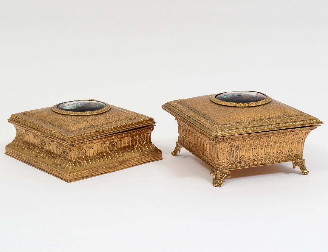 TWO LIMOGES ENAMEL PLAQUE MOUNTED BRASS BOXES