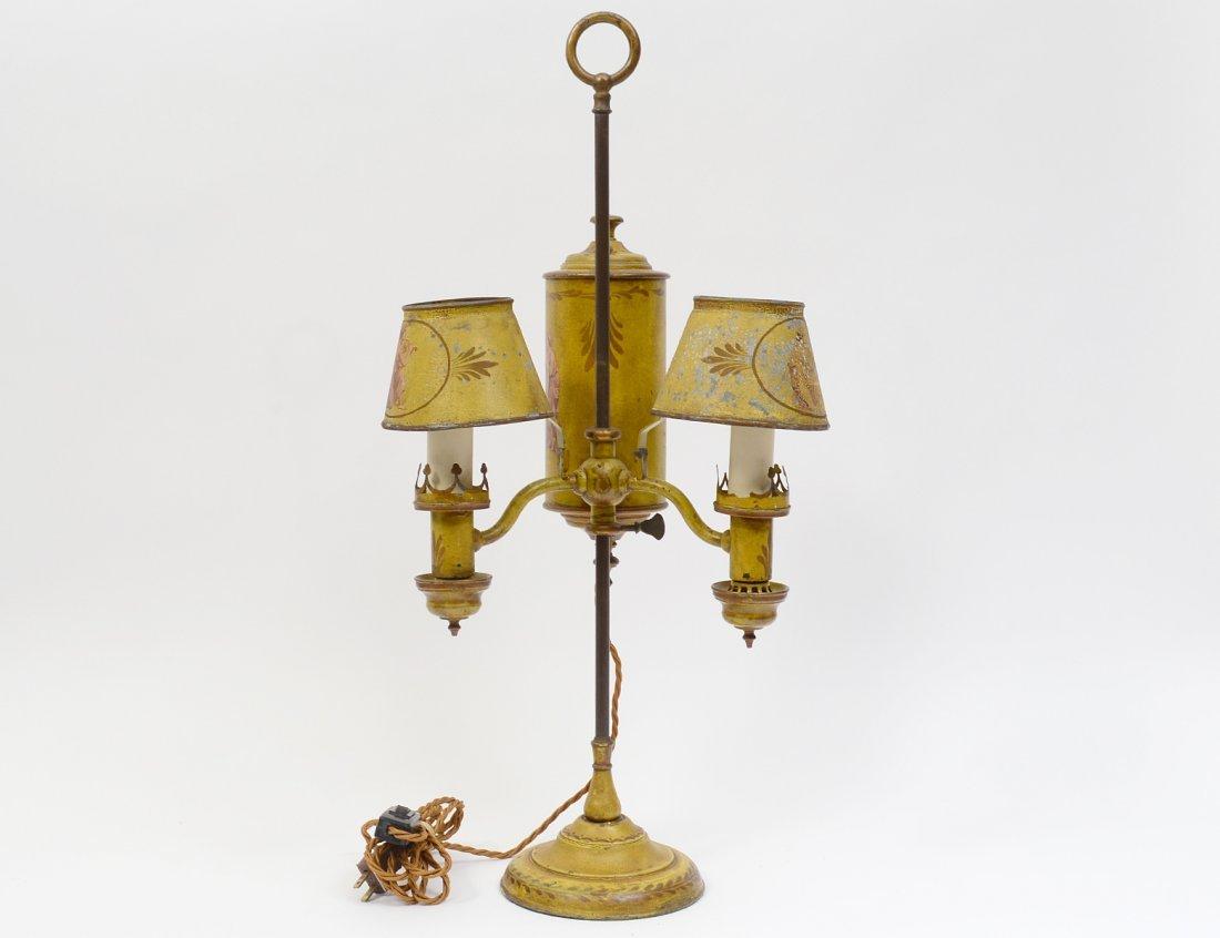 YELLOW TOLE TWIN LIGHT DESK LAMP