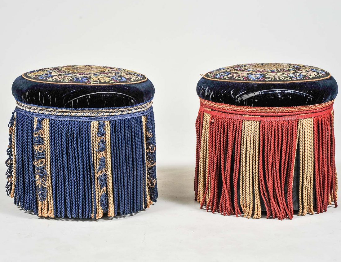 PAIR OF VICTORIAN UPHOLSTERED POUFS