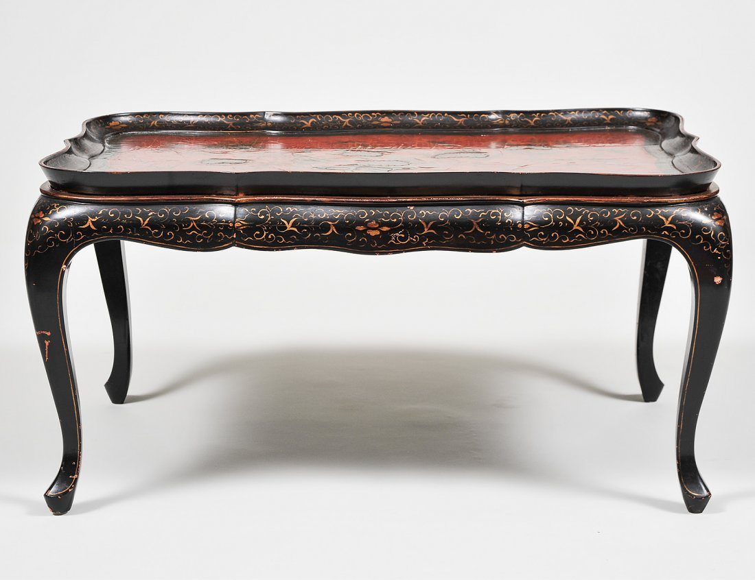 RED AND GILT LACQUERED TRAY