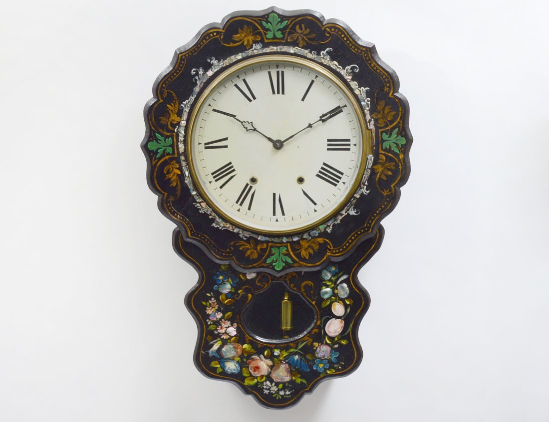 VICTORIAN MOTHER-OF-PEARL INLAID EBONIZED WALL CLOCK