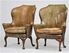 TWO QUEEN ANNE WALNUT WING CHAIRS