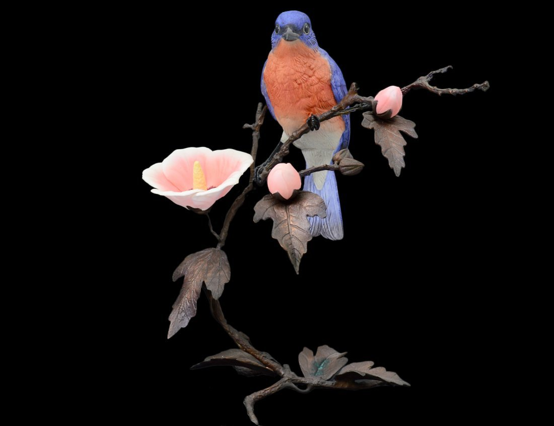 BOEHM PORCELAIN AND METAL BIRD ON A BRANCH