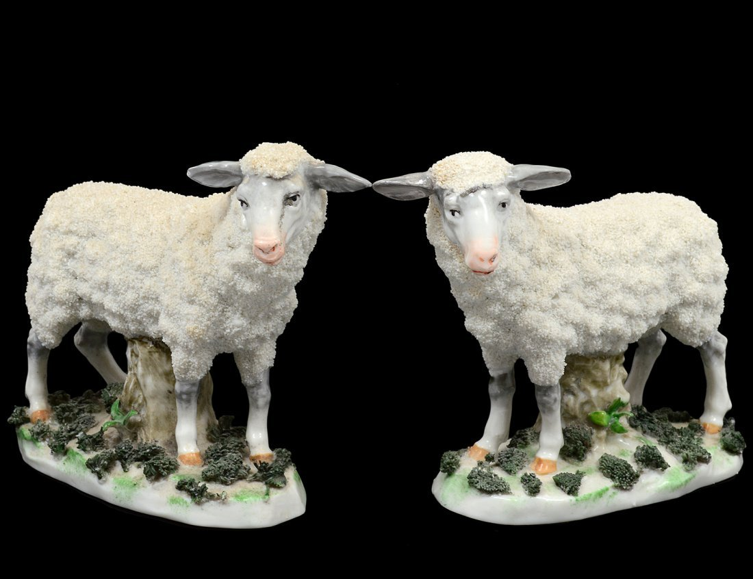 PAIR OF PORCELAIN FIGURES OF SHEEP