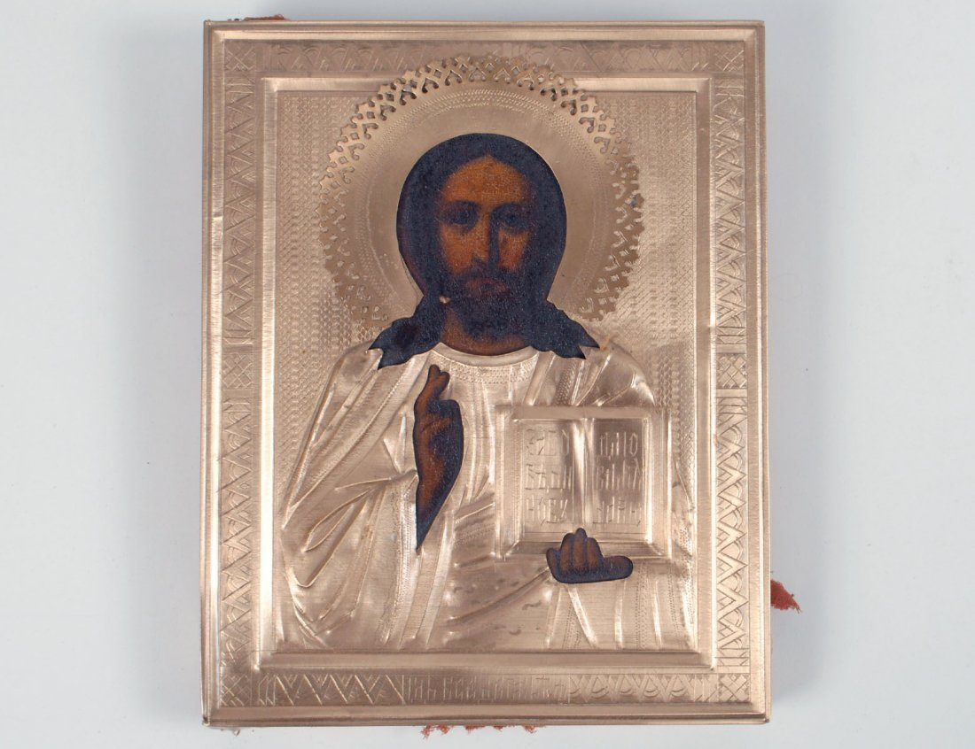 RUSSIAN GILT METAL ICON OF CHRIST PANTOCRATOR