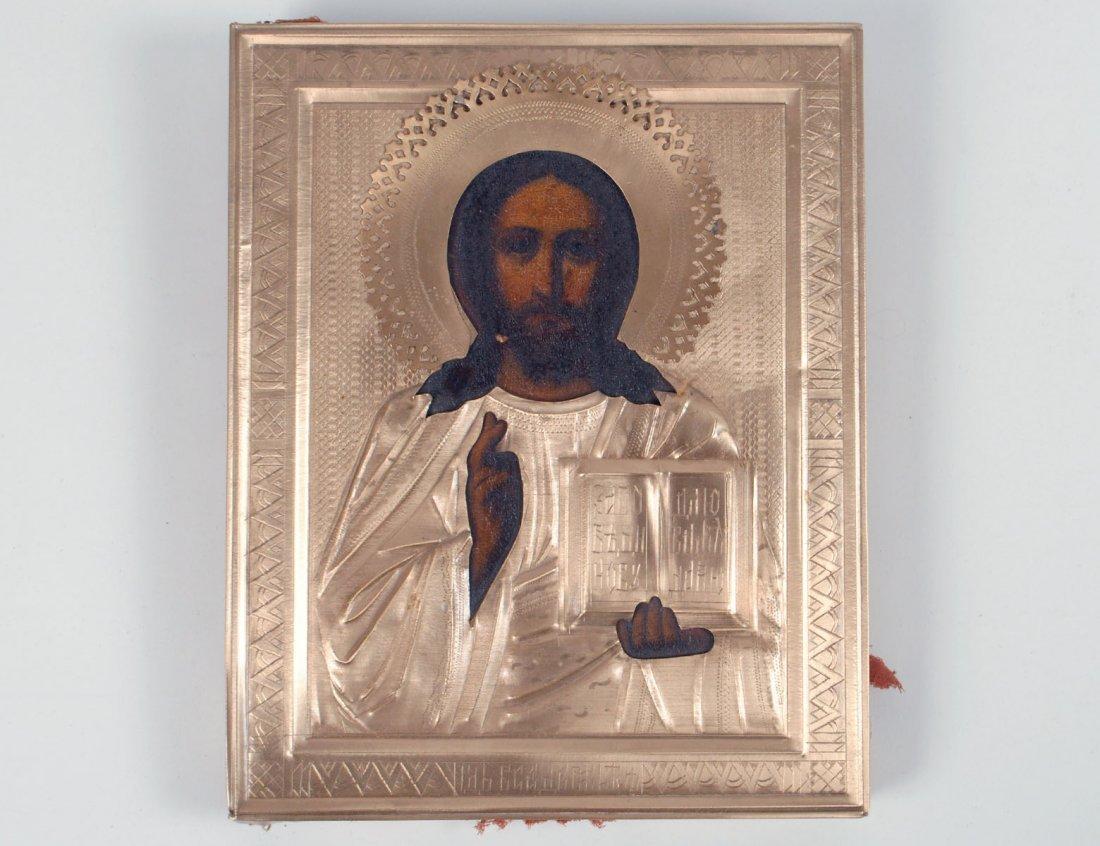 RUSSIAN GILT METAL ICON OF CHRIST PANTOCRATOR