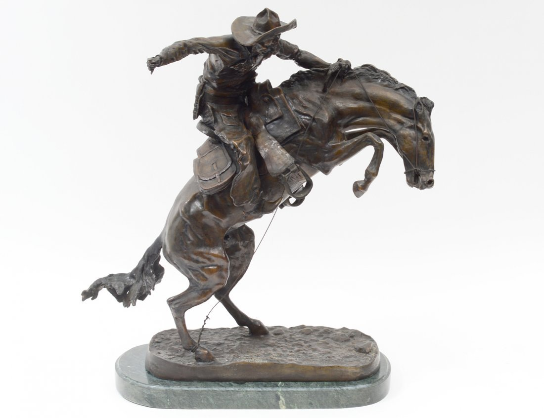 "PATINATED BRONZE GROUP ""BRONCO BUSTER"""