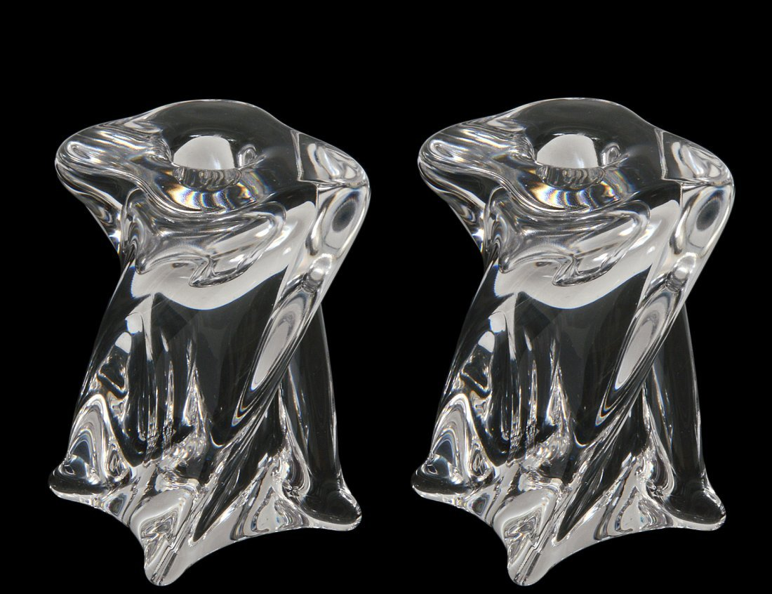 PAIR OF ST. LOUIS CRYSTAL CANDLE HOLDERS