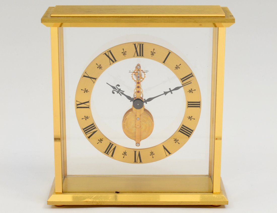 LE COULTRE BRONZE AND GLASS DESK CLOCK