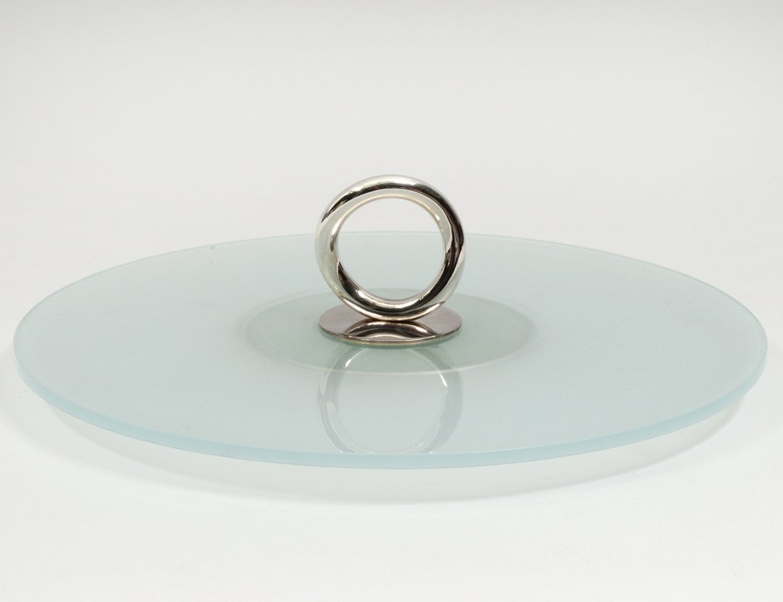 CHRISTOFLE SILVER PLATED AND FROSTED GLASS CANAPE TRAY