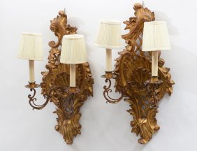 Pair Of Neo-classical Style Carved And Giltwood Two