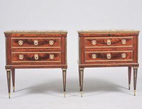Pair Of Baltic Gilt Bronze Mounted Mahogany Commodes