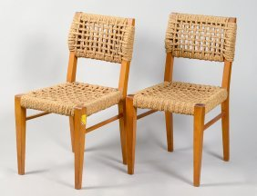 Set Of Six Beechwood And Rope Dining Chairs