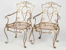 Pair Of Gilt Metal Patio Arm Chairs