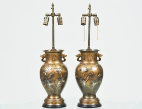 Pair Of Patinated And Gilt Bronze Vases