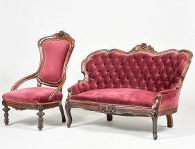 Victorian Carved Mahogany Love Seat And Chair