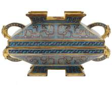 FINE GILT BRONZE AND CLOISONNE BOX AND COVER