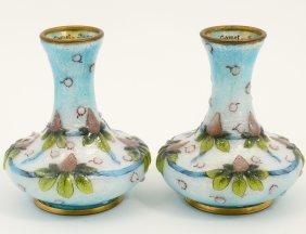 Pair Of Limoges Enamel Bud Vases