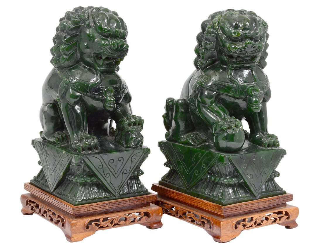 PAIR OF SPINACH JADE FU DOGS