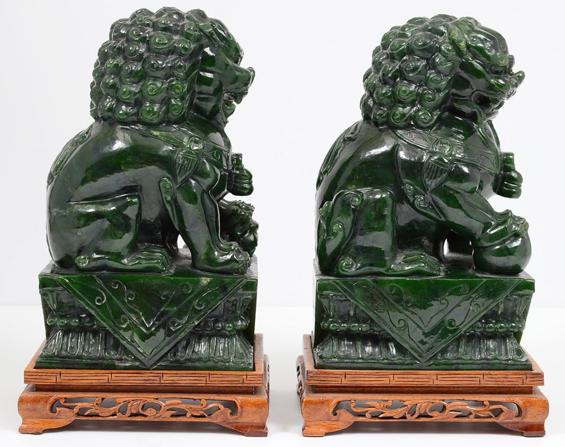 PAIR OF SPINACH JADE FU DOGS - 2