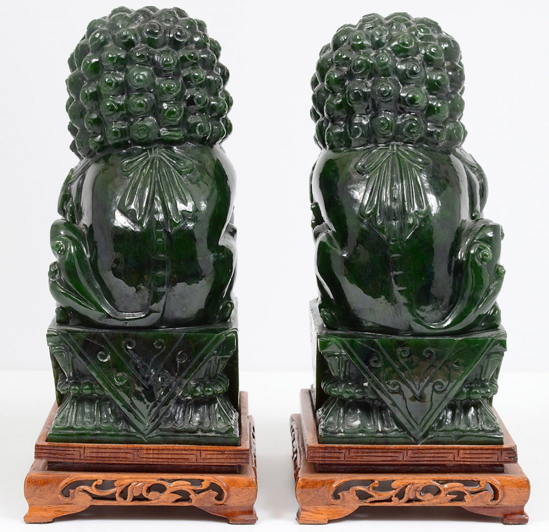 PAIR OF SPINACH JADE FU DOGS - 3